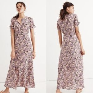 Madewell Purple Pink Floral Silk Maxi Dress Size 6